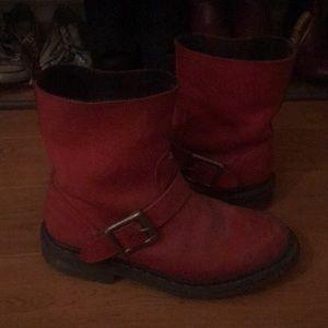 Doc Marten Buckle Boots (Cherry Red)